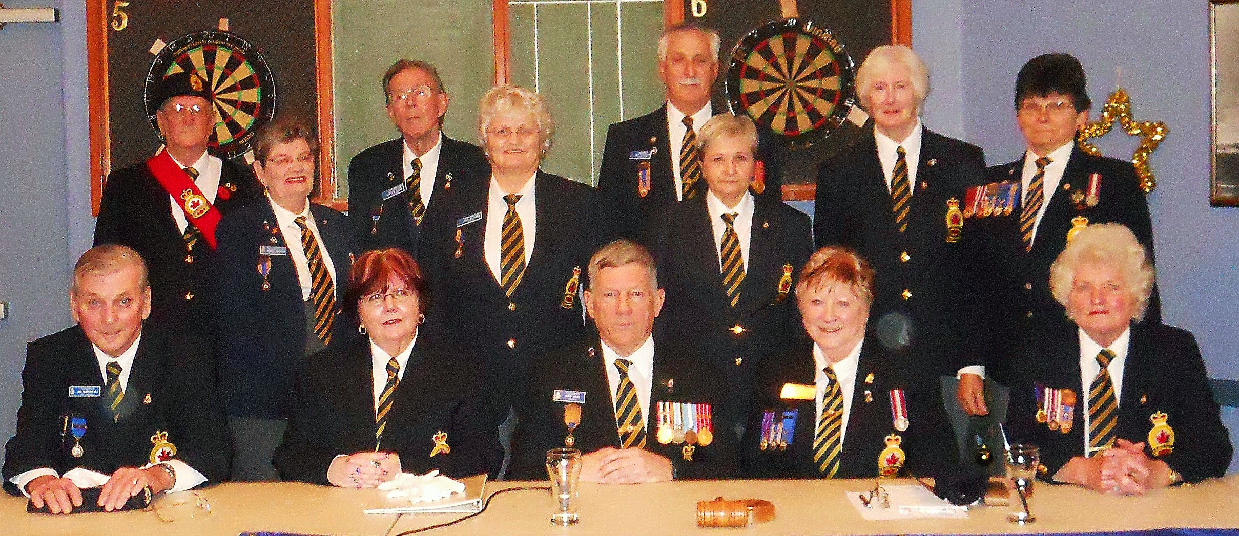 BRANCH 88 MAPLE RIDGE 2015 EXECUTIVE Back Row: Sgt.at Arms Tom Gardiner, Peter Kane, John Vanderelst, Kathleen O'Conner Centre Row: Annette Davidson, Judy Ballard, Penny Ferguson, Margaret Kury Front Row: Jim MacDonald, Lynda Cratty, Mike Ward, Zone Commander Irene Brown, Claire Pratt Absent from photo: Andre Wesseling, Rev. Roland Ziprick