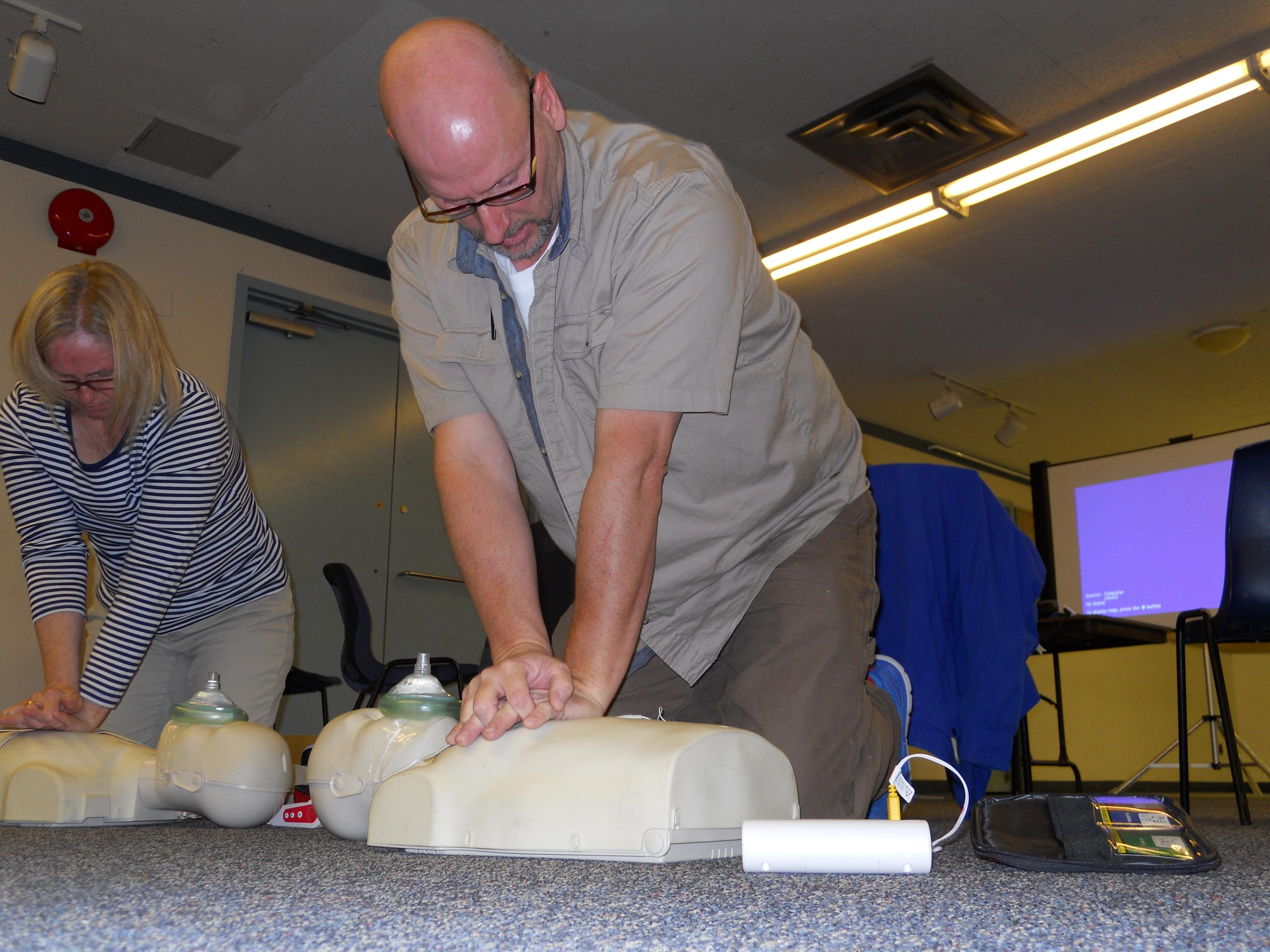 Royal Canadian Legion Branch 88 is actively involved in providing CPR training, including the use of defibrillators, for all staff. At present, there are twelve who recently three-year Red Cross Certification. Shown here. Andrew Richards is one of the staff who took the CPR course. Branch 88 has also purchased two AED's (defibrillators) for installation in the Lounge and at Legion House. Additional training courses could possibly be offered to Branch members. The staff and other members who successfully completed the 4-hour CPR course are: Grace Gonzalez, Terri Zazulak, Phiilis Douglas, Cyndy MacDonald, Elaine MacDonell, Andrew Richards, Grant Armstrong, Maureen Jorgensen, Donna Richards, Lamont Buchanan, Dorothy Piton, Jim MacDonald